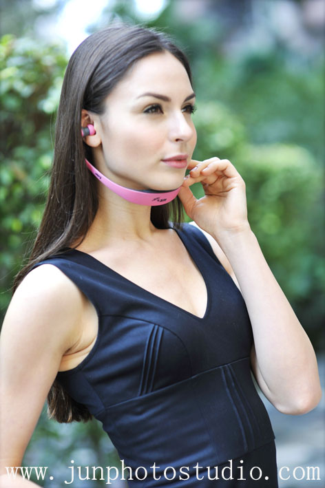 model with headphone