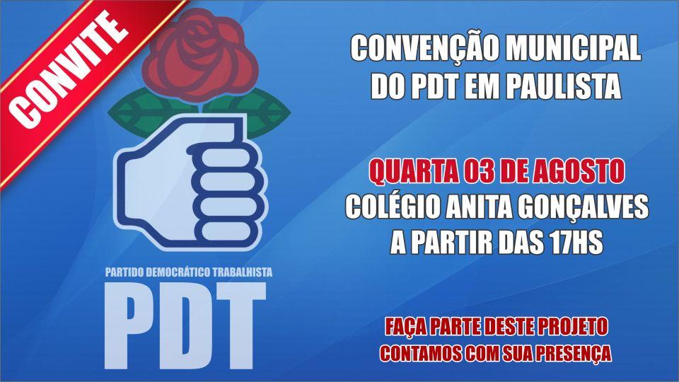 PDT de Paulista realiza sua convenção na quarta-feira