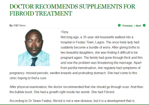 DOCTOR RECOMMENDS SUPPLEMENTS FOR FIBROID TREATMENT 1