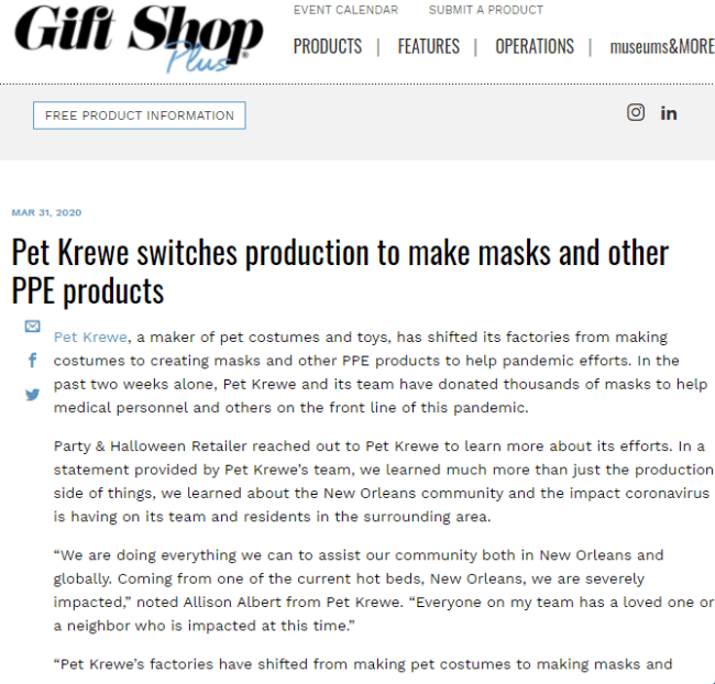 Pet Krewe switches production to make masks and other PPE products. Makes cat & dog videos.