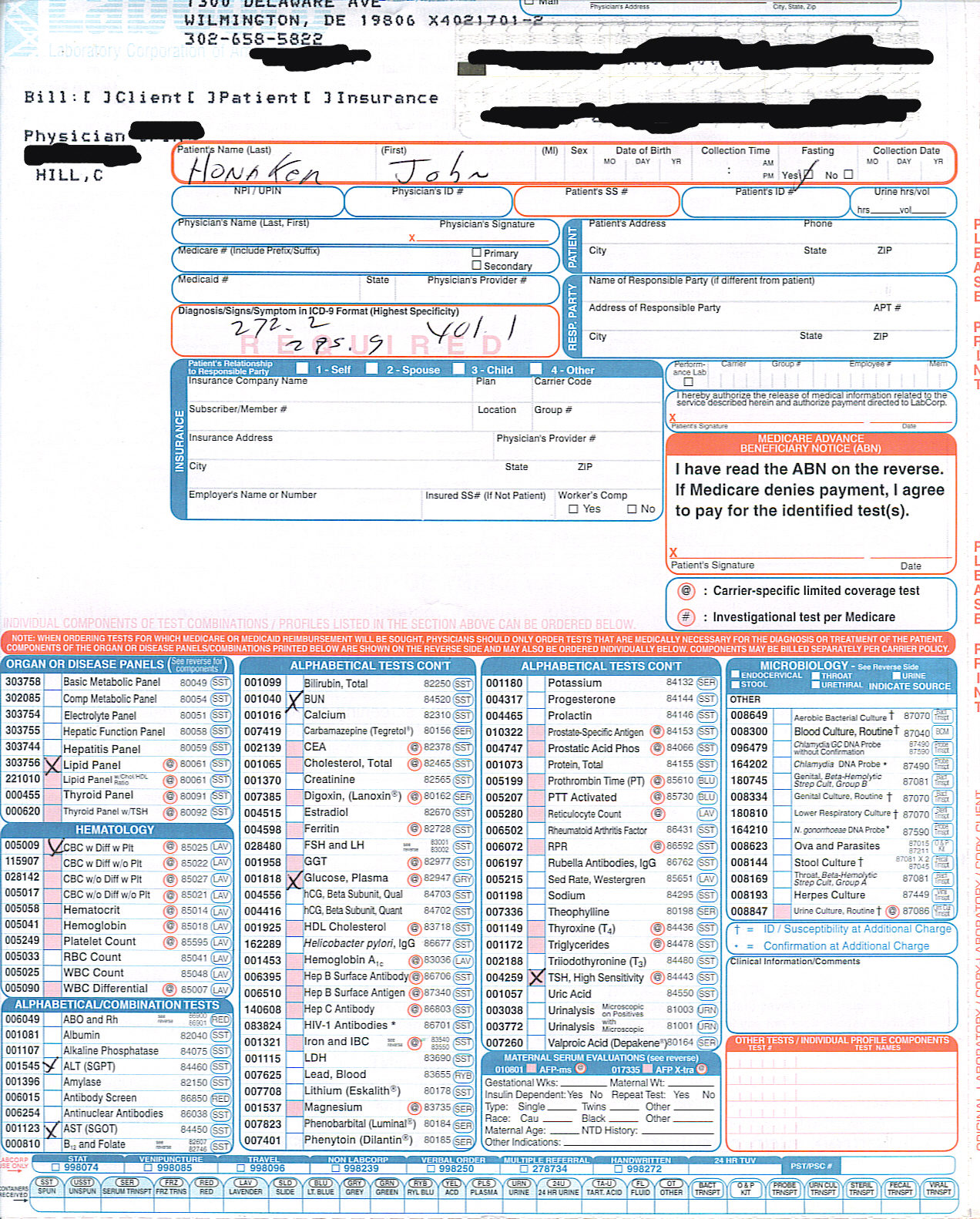 Labcorp Supply Order Form Printable