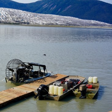 Our airboat and tenders on the Taku