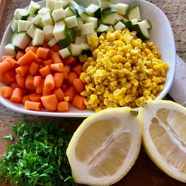 Veggies prepped for pie