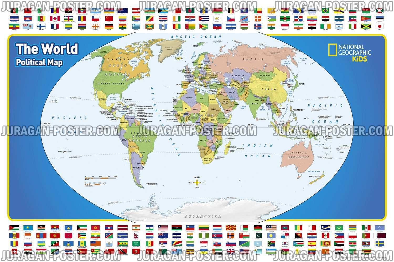 Nat Geo World Map Jual Poster Di Juragan Poster