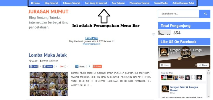 Cara Membuat Menu Bar , blog ,tutorial , menu
