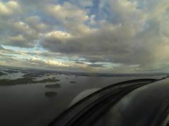 Flying a ULB plane on a summer evening over lake Mälaren