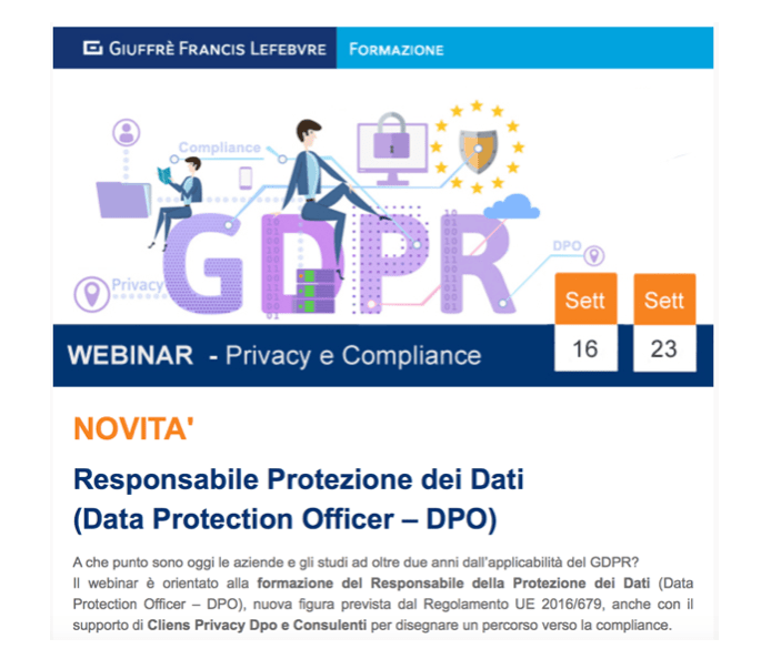 RESPONSABILE PROTEZIONE DEI DATI (Data Protection Officer – DPO) – WEBINAR ONLINE