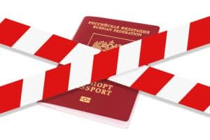 White and red warning tape over the Russian passport.