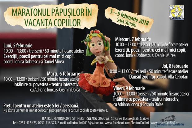 Maratonul papusilor, in vacanta copiilor!  5 - 9 februarie 2018 la Teatrul Colibri 2