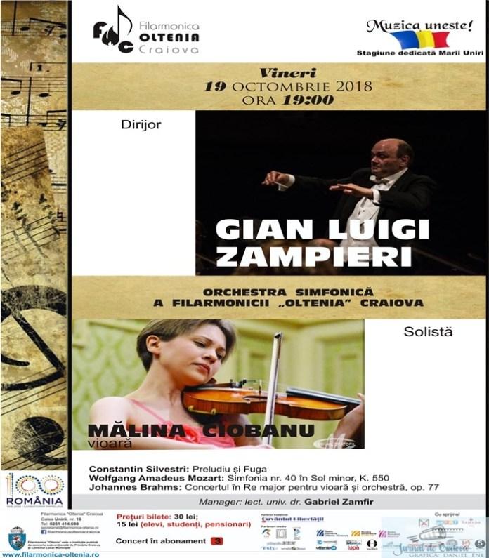 Filarmonica Oltenia Craiova : Celebrul Concert in Re major de Brahms  cu un talent incontestabil, violonista Malina Ciobanu 2