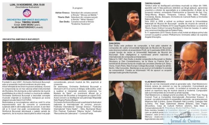 """Filarmonica Oltenia Craiova : DE ASTAZI INCEPE FESTIVALUL INTERNATIONAL """"CRAIOVA MUZICALA"""" Editia 45 Romaneasca (19 noiembrie – 1 decembrie 2018) 2"""