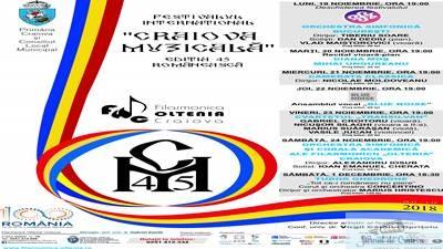 Programul FESTIVALULUI INTERNATIONAL CRAIOVA MUZICALA Editia 45 Romaneasca 1