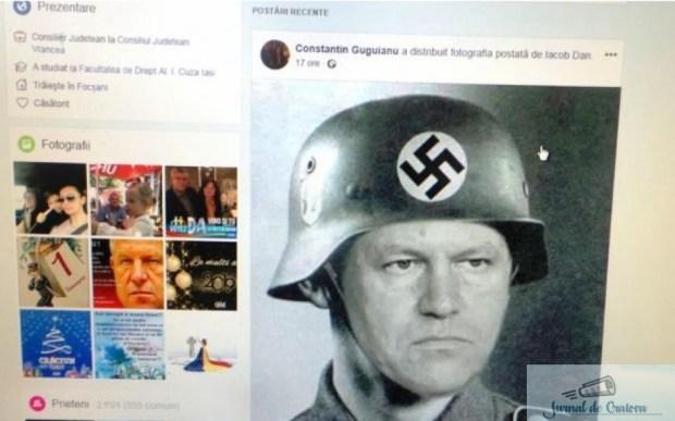Un consilier judetean PSD a postat pe Facebook un trucaj cu Presedintele Iohannis in haine naziste 1