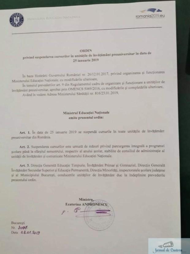 Veste buna pentru elevi ! Ministrul Educatiei a anuntat, oficial, ca vineri, 25 ianuarie, scolile vor fi inchise 2