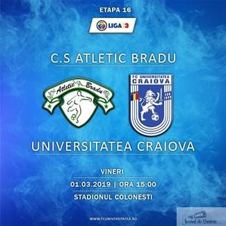 Fotbal : Incepe returul pentru Universitatea Craiova ! Primul adversar C.S. Atletic Bradu .. 1