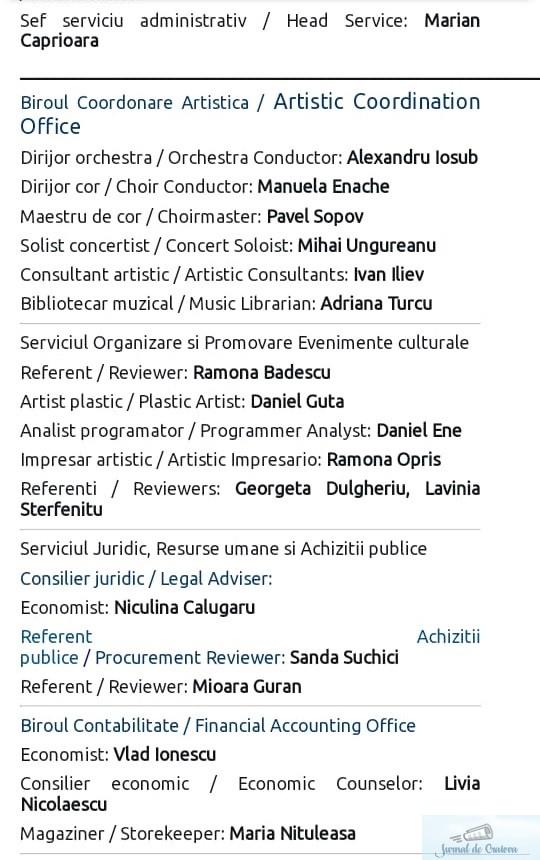 Cine organizeaza, alaturi de managerul Gabriel Zamfir, concertele si evenimentele culturale de la Filarmonica Oltenia Craiova? 2