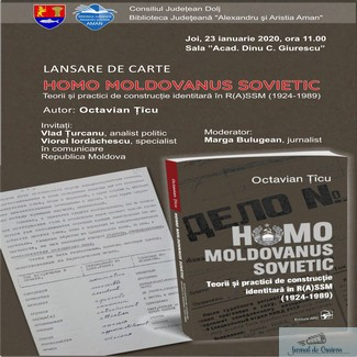 "LANSARE DE CARTE LA AMAN – ""HOMO MOLDOVANUS SOVIETIC.TEORII SI PRACTICI DE CONSTRUCTIE IDENTITARA IN R(A)SSM (1924-1989)"""