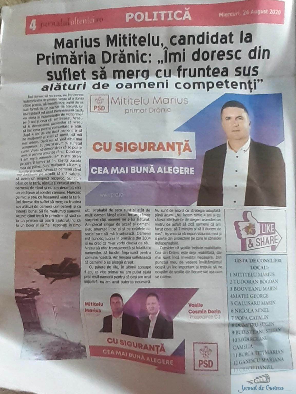 Ziarul PSD se distribuie gratuit ... Am intrat in posesia unui ziar distribuit in comuna Dranic 1