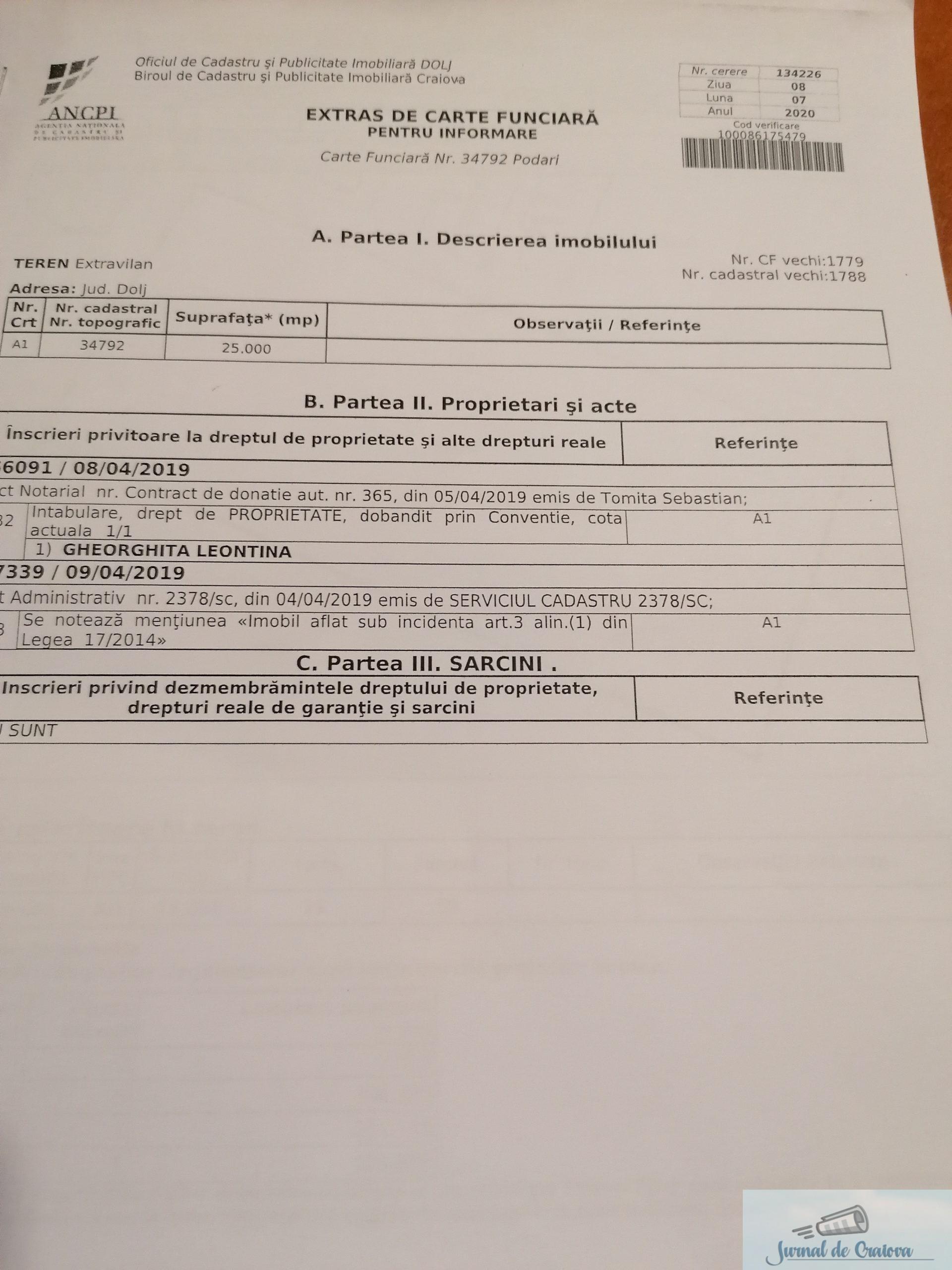 #BarondeDolj : Cum a reusit familia Gheorghita sa puna mana pe cele 24 de hectare cedate de MAPN in Podari .. 15