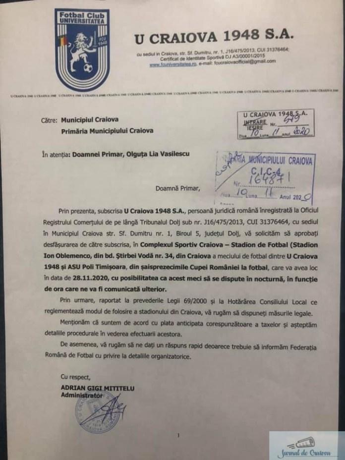 Universitatea Craiova a depus o cerere pentru a putea disputa meciul pe Stadionul Ion Oblemenco din Cupa Romaniei 1