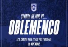 Universitatea Craiova revine pe Ion Oblemenco ! Meciul impotriva echipei ASU Poli Timișoara se va juca pe 28 noiembrie la ora 18:00