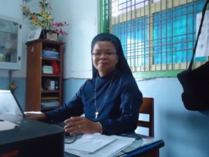 Foto : Zr. Monica Simarmata. Kepsek SD CR 3 Pematangsianta