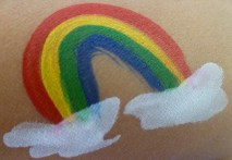 Cheek art sample: Rainbow