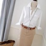【秋の白シャツコーデ】4つのスカートスタイル。カジュアルにも清楚にも