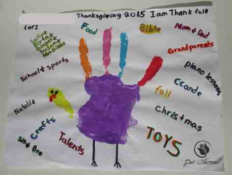 """image of Thanksgiving hand turkey to express """"I am thankful for"""" for Thanksgiving crafts"""