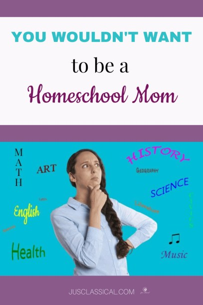 Image of homeschool mom thinking about subjects to teach for pinning on Pinterest.