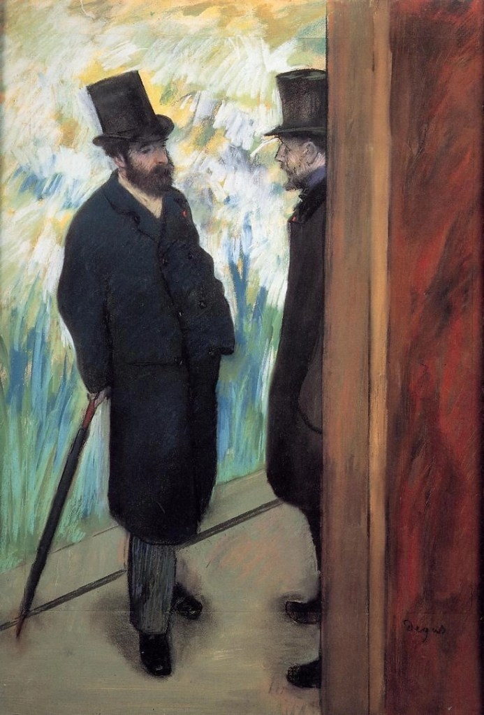 Friends at the Theatre - Ludovic Halevy and Albert Cave by Edgar Degas