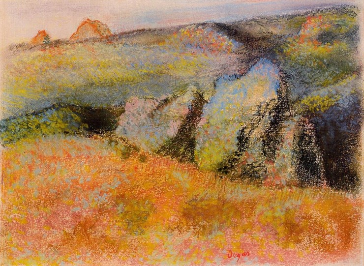 Landscape with Rocks by Edgar Degas