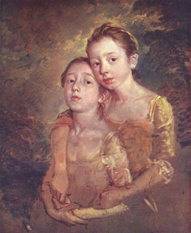 Portrait of Artist's Daughters with a Cat by Thomas Gainsborough
