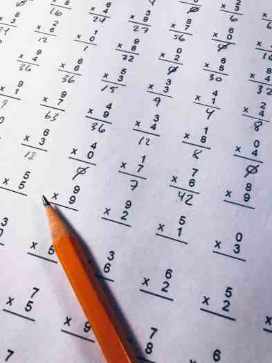 sheet of math facts to aid in memorization, memorization tools