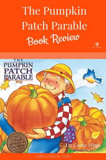picture of a farmer holding a big orange pumpkin on the book cover of The Pumpkin Patch Parable