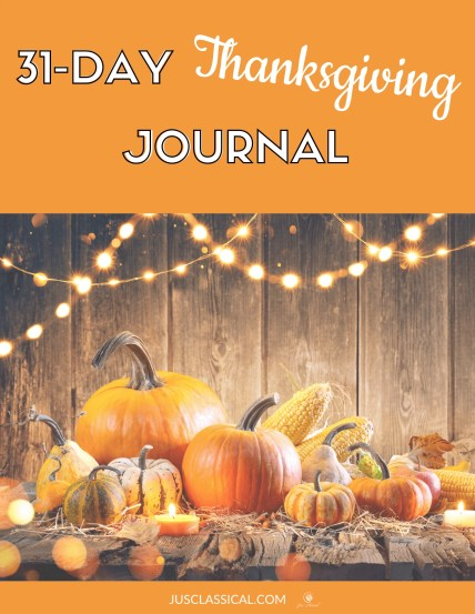 Picture of pumpkins and fall gourds on cover with title 31-Day Thanksgiving Journal