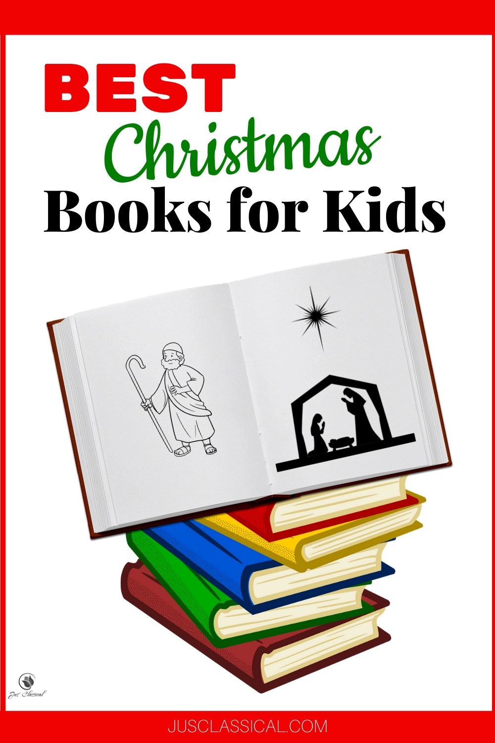 Image of stack of books with the top book open to pictures of a shepherd and a nativity scene with title Best Christmas Books for Kids