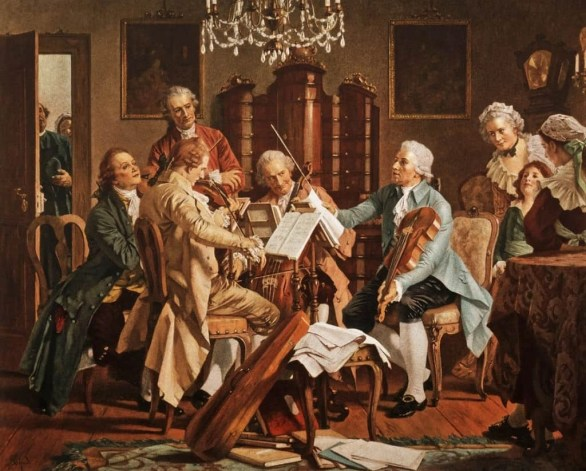 Image of four musicians, a string quartet, including composer Joseph Haydn rehearsing while a standing man watches over their shoulders and a few women sit to the side and watch.