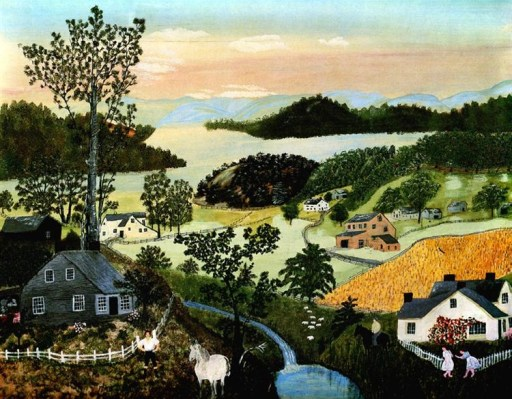 Painting of country scene of rolling hills, a river in the background, a tall tree on the left side behind a gray house with a white picket fence in front of which two people walk and a white horse stands. A small creek flows into a pond separating the scene where there is a white house on the right side. This painting is called A Beautiful World by Grandma Moses.
