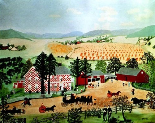 A painting of a red and white checkered house with red barns in the center of the picture. In front of the house is a large dirt yard in which three carriages led by horses are trotting. Behind the houses are fields of crops. The painting is called Checkered House by Grandma Moses.