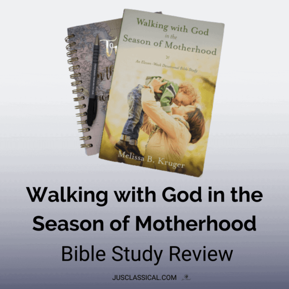 """Image of book cover of Walking With God in the Season of Motherhood with a notebook underneath it and a pen to the left on a light purple background. Above the image is a white rectangle with the words, """" Walking With God in the Season of Motherhood Bible Study Review."""""""