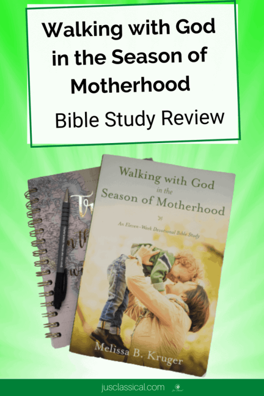 """Image of book cover of Walking With God in the Season of Motherhood with a notebook underneath it and a pen to the left on a green background. Above the image is a white rectangle with the words, """" Walking With God in the Season of Motherhood Bible Study Review."""""""