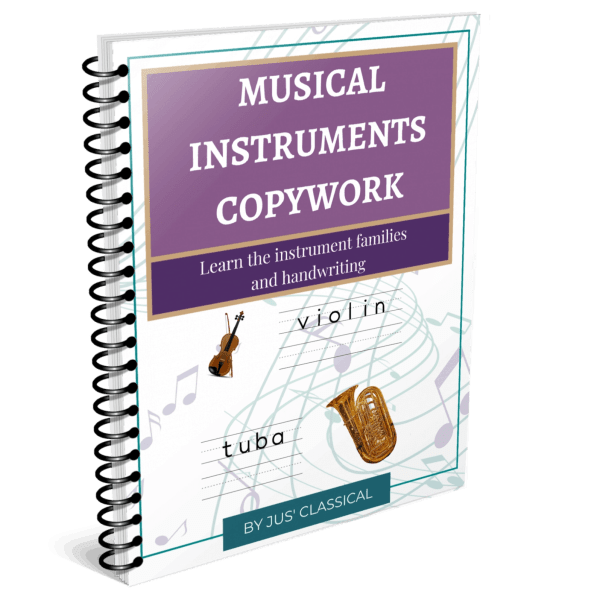 Image of spiral bound book with a purple rectangle at the top and white words that say Musical Instruments Copywork. Below it are the images of a violin and a handwriting line with the word violin on it and the image of a tuba and a handwriting line with the word tuba on it.