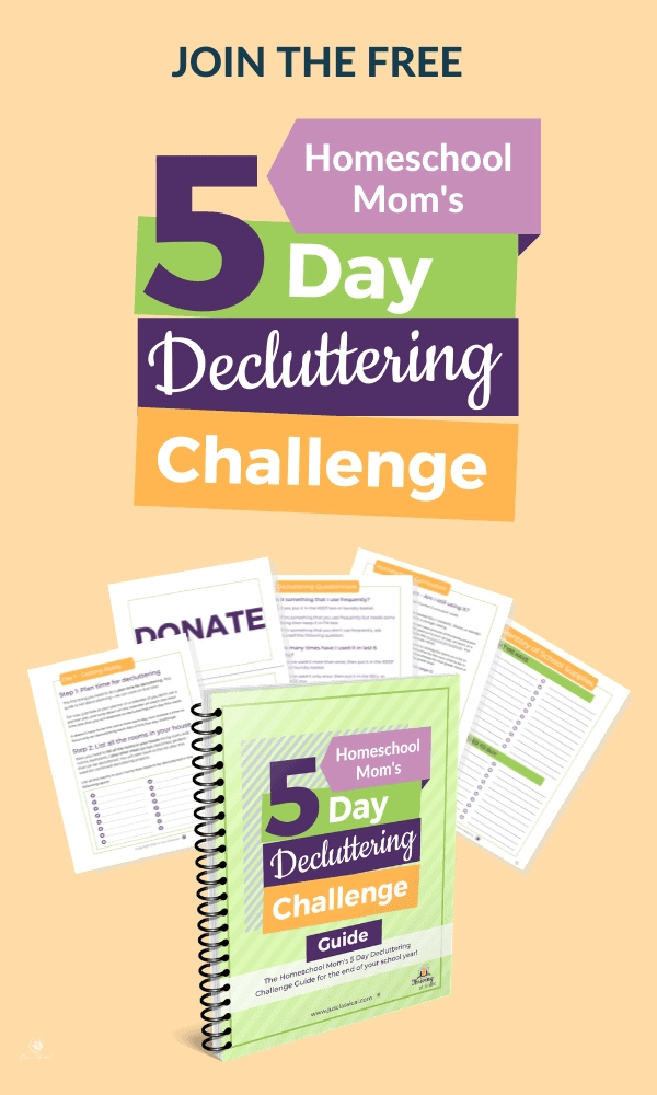 Image of mockup with spiral notebook and four pages fanned behind it. Above is in multiple colors are the words Join the free Homeschool Mom's 5 Day Decluttering Challenge. All of this is on a light orange background.