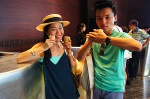 Ed and I ready to enjoy Affogato, in Thailand