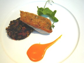 Seabream with Venere Rice and Vegetables Brunoise, Tomato Basil Cream; L'altro