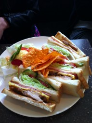 Club Sandwich with Chips & Egg Salad; Coffee Alley