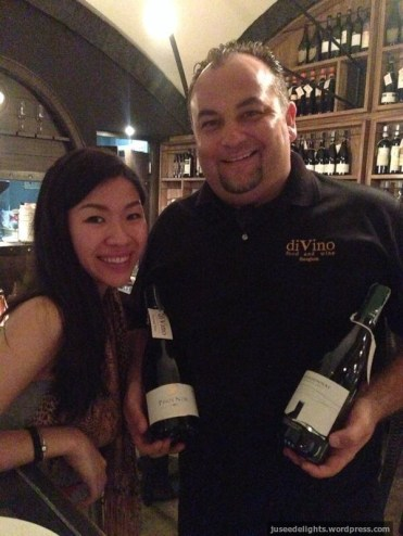 Restaurateur Roberto Ferin holding the wines that we tasted; diVino Food & Wine, Bangkok