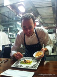 Chef Alain Devahive Tolosa making Avocado and Lobster Roll; Catalunya
