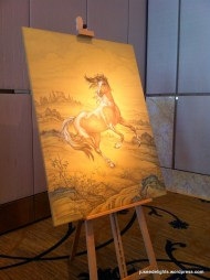 Lively horse painting by Chinese artist Tian Shuhan; Four Seasons, for Castiglion del Bosco